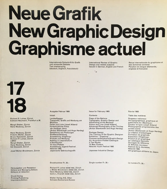 Neue Grafik/New Graphic Design/Graphisme actuel magazine