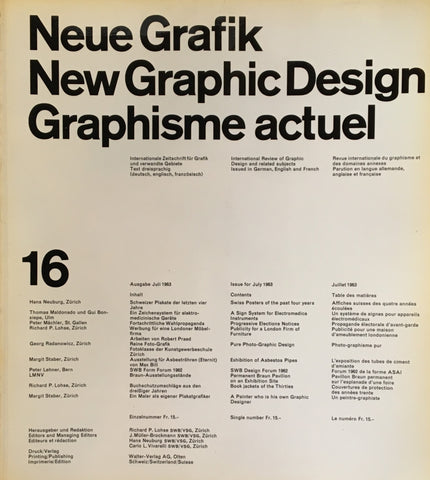Neue Grafik/New Graphic Design/Graphisme actuel  no.16