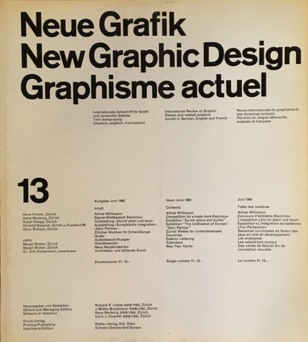 Neue Grafik/New Graphic Design/Graphisme actuel  no.13