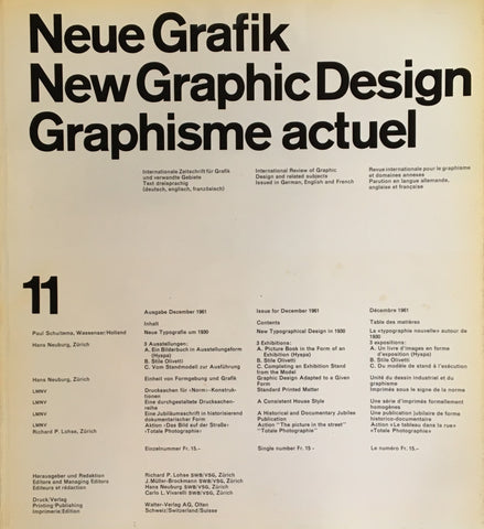 Neue Grafik/New Graphic Design/Graphisme actuel  no.11
