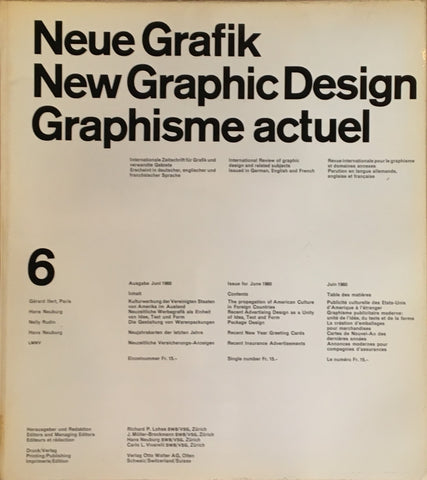 Neue Grafik/New Graphic Design/Graphisme actuel  no.6