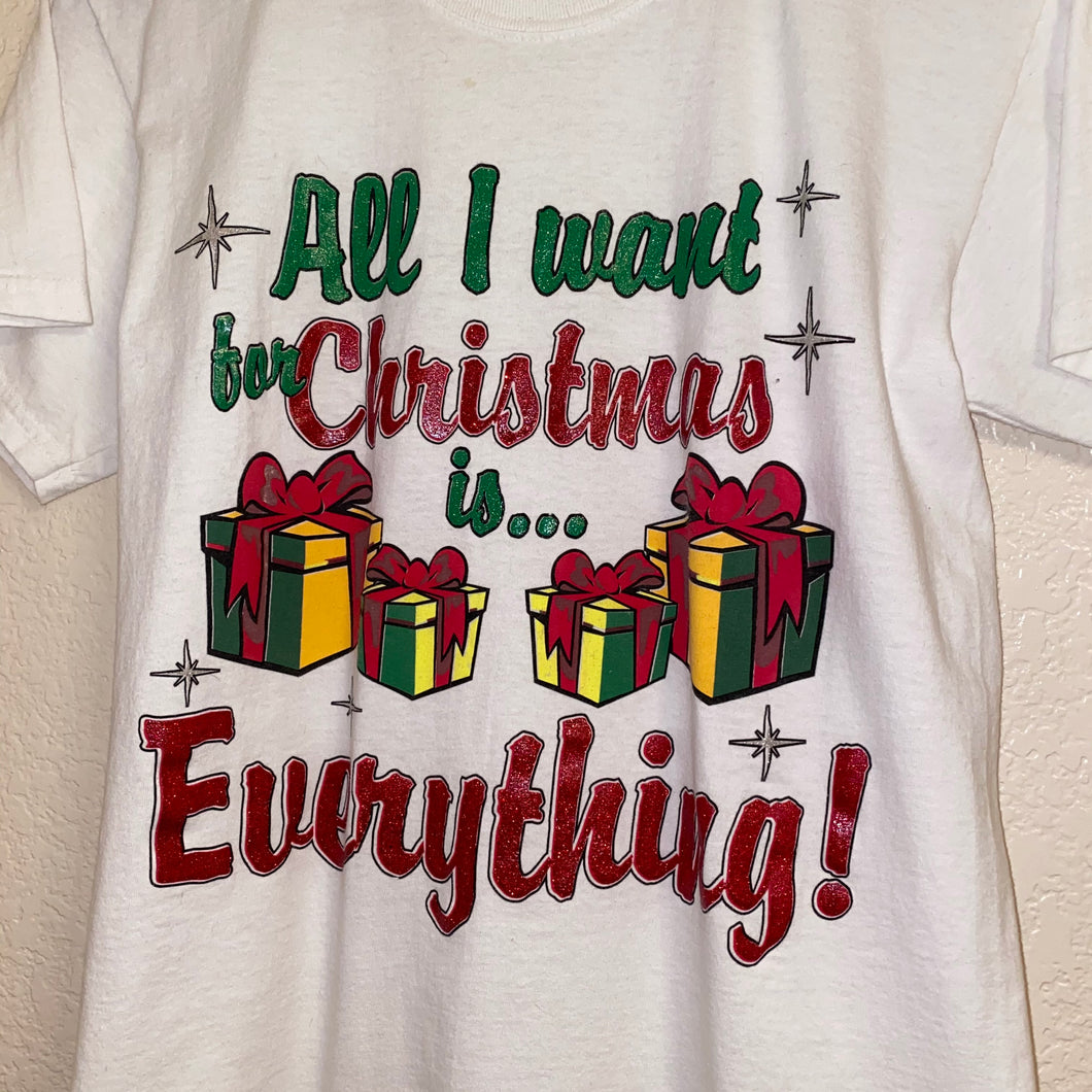 Vintage 90s All I Want For Christmas Glitter Tee