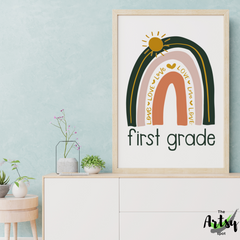 First grade poster, First grade rainbow poster, Neutral rainbow wall art print