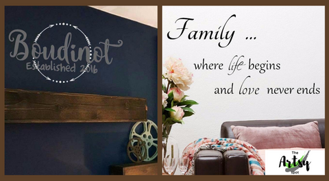 Family room decal, Living room wall decal, Family monogram decal