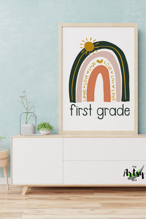 Neutral rainbow Poster, First Grade wall art print, 1st grade rainbow print, School Poster, 1st grade wall decor
