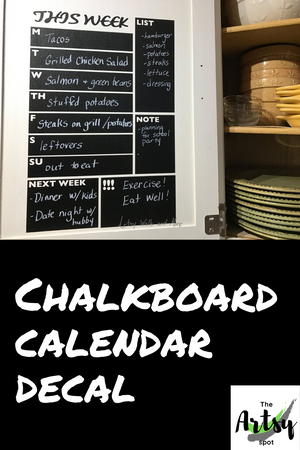 Chalkboard Weekly Planner Decal - kitchen calendar decal, Weekly schedule decal, Refrigerater calendar decal