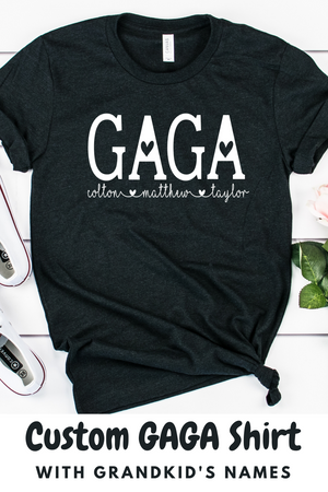 Personalized Gaga shirt with grandkid's names, Gift for Gaga, MOther's day gift