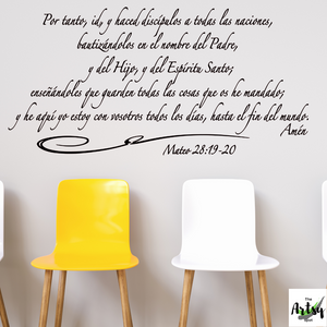 SPANISH decal Mateo 28: 19-20, Christian decal in Spanish, The Great Commission in Spanish, Spanish Church decor, Scripture in Spanish