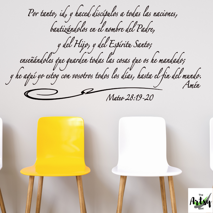 SPANISH decal Mateo 28: 19-20, The Great Commission