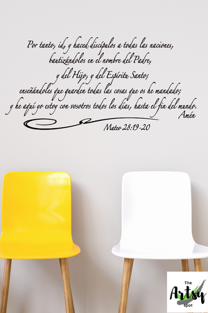 SPANISH decal Mateo 28: 19-20, Christian decal in Spanish, The Great Commission in Spanish, Spanish Church decor, Scripture in Spanish, Matthew 28:19-20