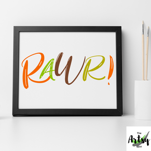 Rawr! Dinosaur wall art print, Dinosaur bedroom wall decor