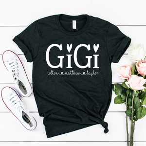 Personalized Gigi shirt with grandkid's names, Custom Gigi shirt, Gift for Gigi, Grandma shirt, Grandma birthday gift