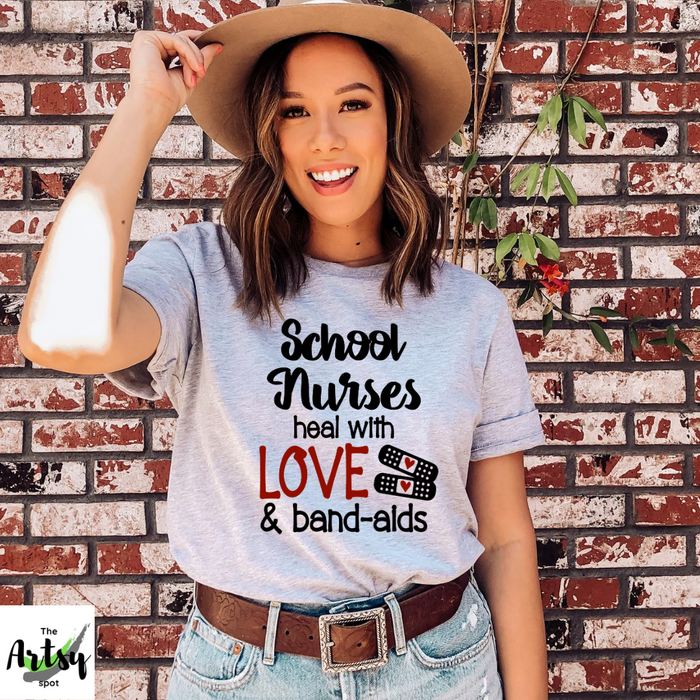 School nurses heal with love and bandaids shirt