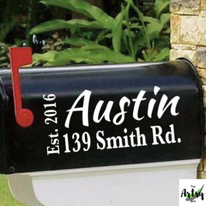 Name, address and est. date mailbox decal, mailbox address decal