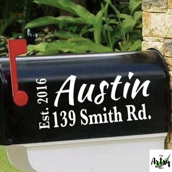 Mailbox Address Decal With Est. Date