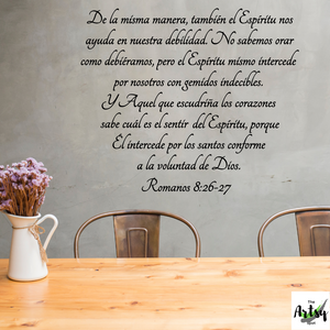 SPANISH decal Romanos 8:26-27, Christian decal in Spanish, Romans bible verse decal in Spanish, Spanish Church decor, Scripture in Spanish