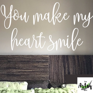 You make my heart smile decal, bedroom wall decal, Nursery decal, love saying