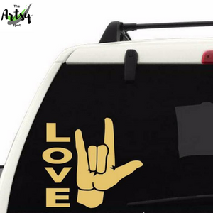 ASL Sign Language I Love You Sign car window Decal - I love you sign language decal - ASL decal - The Artsy Spot