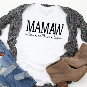 Personalized Mamaw shirt with grandkid's names, Custom Mamaw shirt, Gift for Mamaw, shirt for Mamaw, shirt for new Grandma