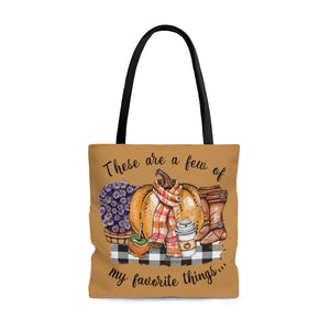 These are a few of my favorite things Fall tote bag, Fall bag, pumpkin spice, boots, mums, buffalo plaid bag