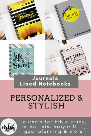 Lined notebooks, Personalized journals, The Artsy Spot