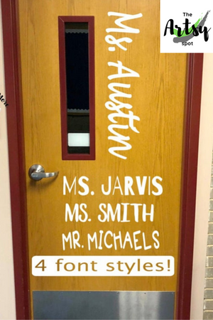 teacher name door decal, Classroom door decal, Pinterest image