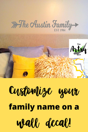 Family Name With Arrow Wall Decal - The Artsy Spot