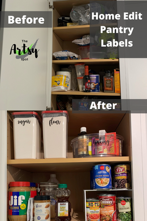 Before and after kitchen organization, Canister labels, pantry labels, kitchen labels, custom labels, home edit labels, home organization labeling, pantry decals