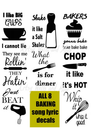 Baking Song Lyrics EIGHT decals - The Artsy Spot