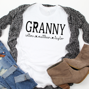 Personalized Granny shirt with grandkid's names, Granny birthday gift, Granny reveal gift, New Granny gift