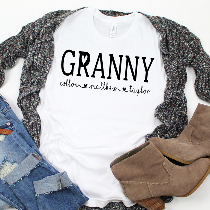 Personalized Granny shirt with grandkid's names