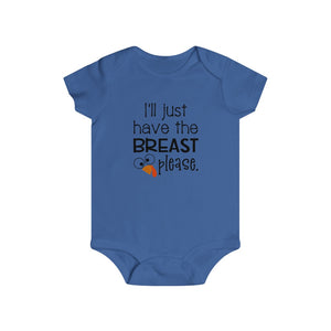 I'll just have the breast please, infant bodysuit, Baby Thanksgiving onesie, Thanksgiving bodysuit, Thanksgiving baby gift, funny infant bodysuit