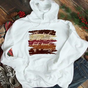 Thankful and blessed but kind of a mess hoodie, funny fall hoodie, fall hooded sweatshirt, hoodie for fall