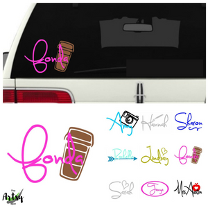 Car window Name Decal - tumbler name decal - name decal for car window - name decal for tumbler - The Artsy Spot
