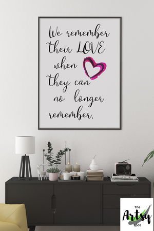 quotes on memory, Alzheimer's wall art, Alzheimer's decor