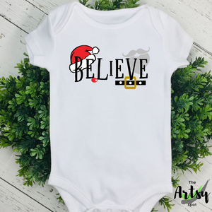 Believe, Christmas infant bodysuit, Christmas onesie, Baby onesie for Christmas, Cute Christmas baby apparel, Christmas baby outfit