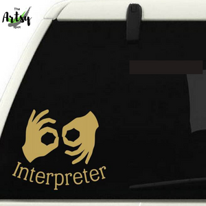 ASL Sign Language Interpreter Decal - asl gift - asl interpreter gift idea - gift for sign language interpreter - The Artsy Spot