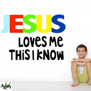 Jesus loves me this I know wall decal, Children's Ministry wall decor