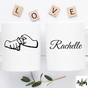 "American Sign Language sign for ""Friend"" coffee mug , Personalized sign language gift"