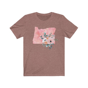 Oregon home state shirt, Watercolor Oregon shirt, heather mauve feminine Oregon T-shirt