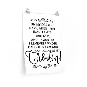 On my darkest Days Poster, Woman's office decor, woman's office wall poster