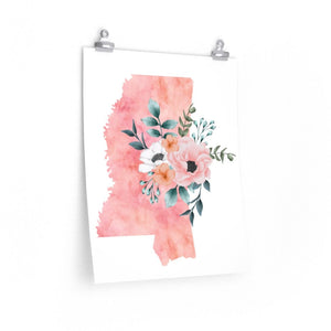 Mississippi home state poster, Mississippi watercolor, Mississippi wall art print