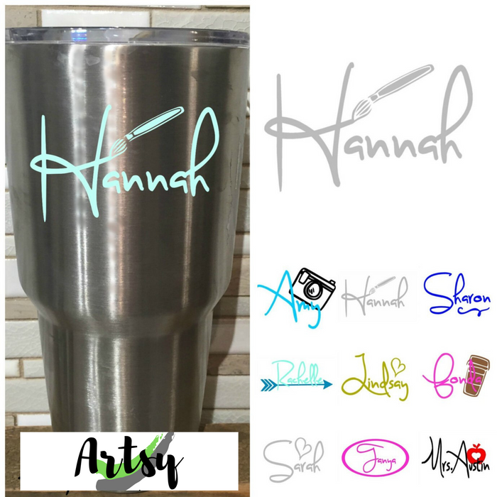 Custom NAME Decals for Tumblers