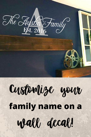 Monogram Family Name decal, Pinterest image