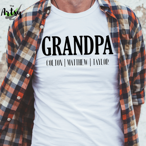 Personalized Grandpa shirt with kid's names, shirt for Grandpa, Father's Day gift