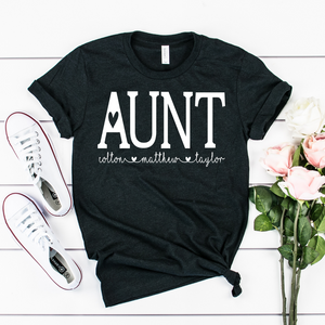 Personalized Aunt shirt with kids names, Custom Aunt shirt, Gift for Aunt, Personalized Aunt shirt, shirt for a new Aunt gift