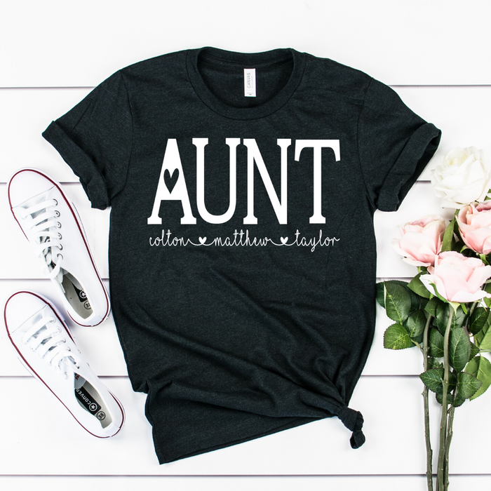 Personalized Aunt shirt with kids names