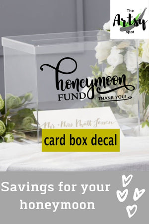 Honeymoon Fund Wedding Card Box Decal, Pinterest image