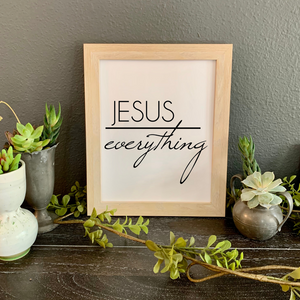 Jesus over everything print, Framed Christian picture, Christian home decor