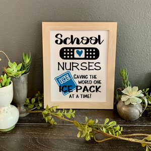School Nurses Saving the World One Ice Pack at a Time, school nurse desk decor